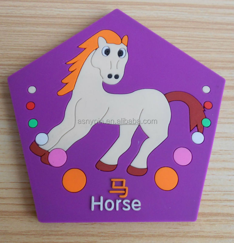 pentagon shaped horse rubber coasters
