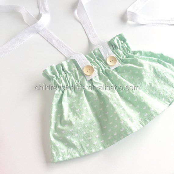Light Green Woven Dress Suspender Skirts Sweety Girls Baby Skirts