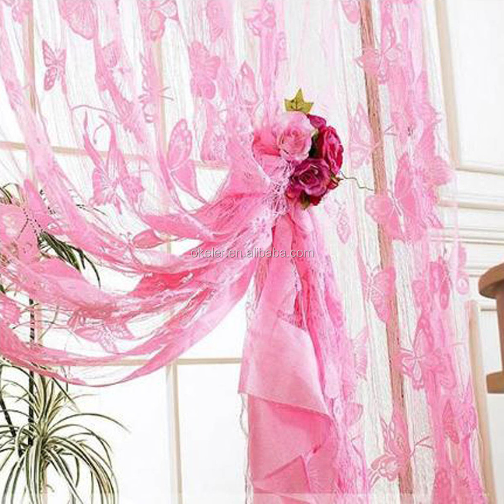 Soft Pink Stylish Butterfly Pattern Lace Curtain for Windows Hanging