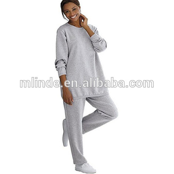 9415089e7f5 Women s Plus Size Fleece 2 Pieces Sweatsuit Wholesale Custom Fashion  Tracksuit Crewneck Women Plain Fitted Tracksuit