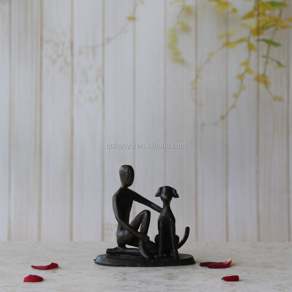 Home Decor Handicraft Cast <strong>Iron</strong> Bronze Boy With Dog Statues