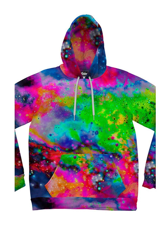 Beloved Shirts Neon Galaxy Hoodie - Premium All Over Print Graphic Hoodies
