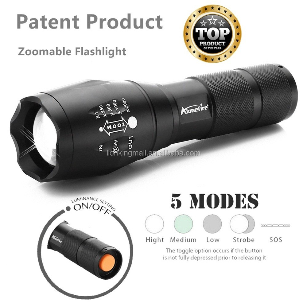 AloneFire G700 E17 LED Flashlight Zoomable LED Torch xml T6 3800LM led Focus zoom light for 18650 Rechargeable or AAA Battery