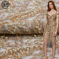 Free shipping wedding hand embroidered gold full beaded lace tulle fabric with sequin