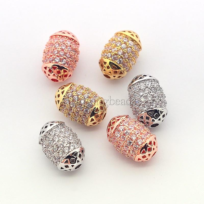 6pcs Mixed Color Brass Micro Pave Cubic Zirconia Oval Beads about 8mm wide, 12mm long, hole 1mm