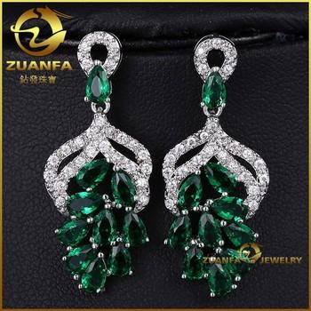 Micro Pave Emerald Cubic Zirconia Cz Ebay Silver Luxury Earrings