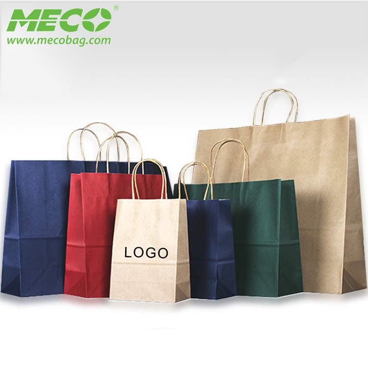 Wholesale BSCI Audit Gift Packaging Printed Paper Bag With Handle, Craft Paper Shopping Bag