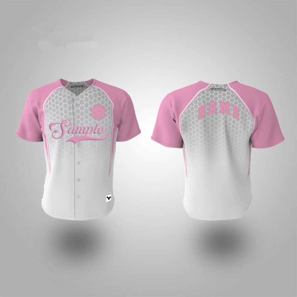 Pink Button Down Plain Baseball Jerseys Pattern Wholesale Women Baseball T Shirt