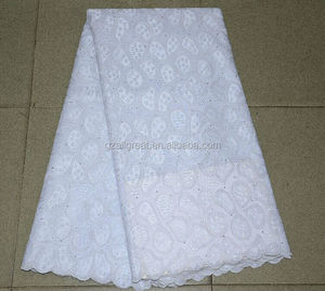 Latest design of swiss voile lace/white cotton lace embroidery fabric