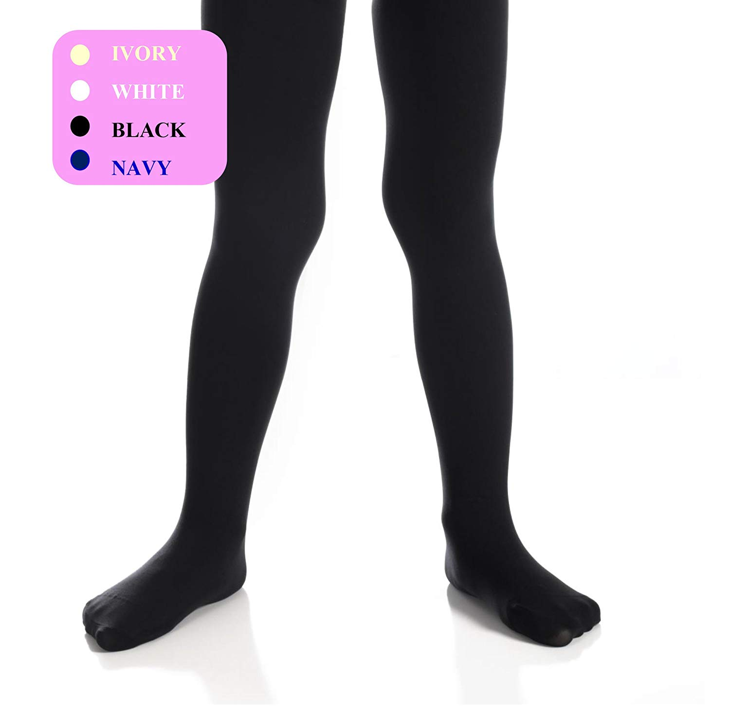 9c63339ba38 Get Quotations · Girls Tights - Kids Opaque Tights - Microfiber Tights -  Black