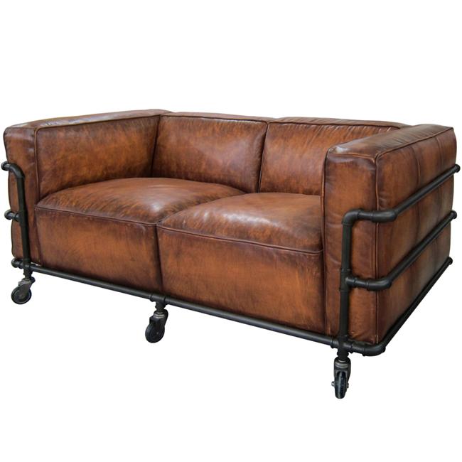Industriale in pelle vintage le corbusier divano insieme - Divano pelle vintage ...