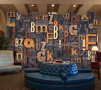 Classical Decoration D Letter Designer Wallpaper For Pub Enjoy Drinking Here Wall Decor Plant Wallpaper