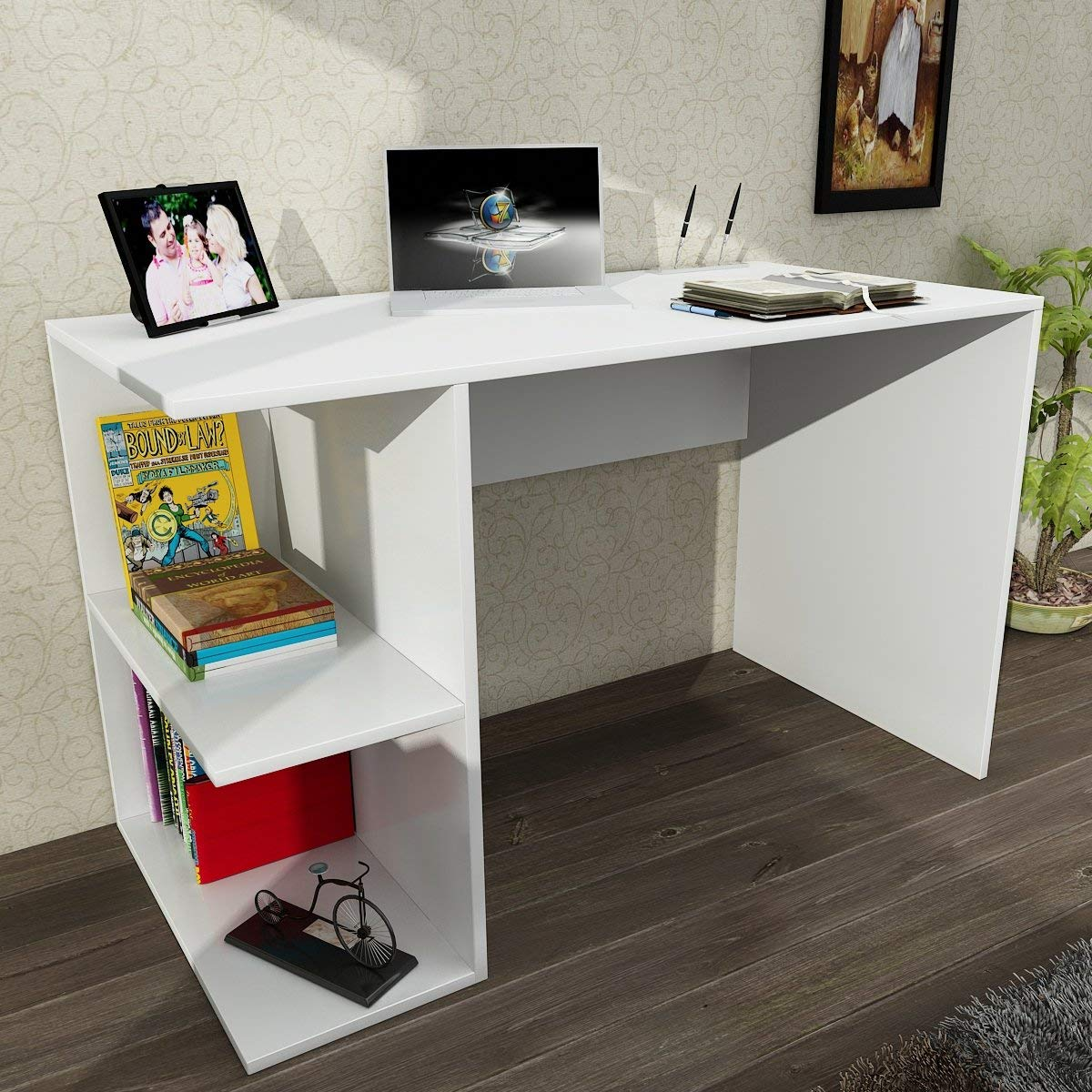 Writing Computer Desk Modern & Simple White One Color Rectangle Functional Stylish Modern Study Desk Industrial Style Study & Laptop Table for Home, Office, Living Room, Study Room