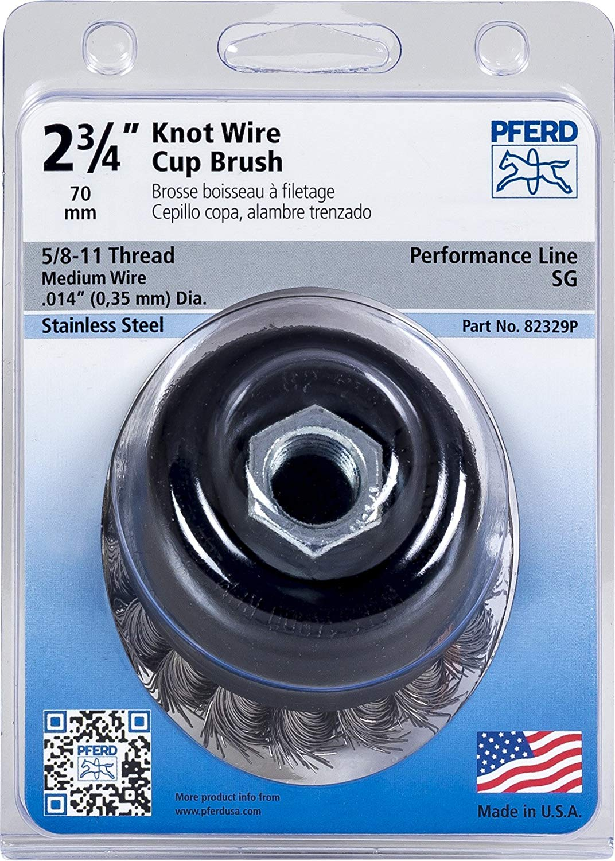 "PFERD 82342P Standard Twist Knot Cup Brush, Stainless Steel Wire, 3-1/2"" Diameter, 5/8-11 External Thread, 0.020 Wire Size, 7/8"" Trim Length, 12500 RPM, POP Packaging"