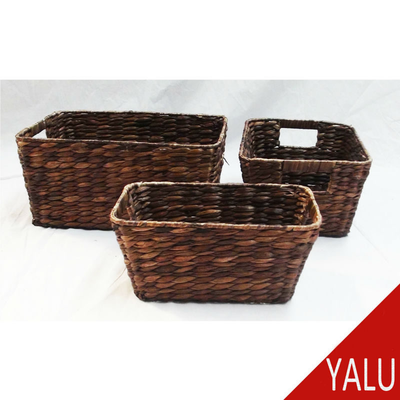 chocolate color tapered water hyacinth basket set of 3 food grade hyacinth woven basket
