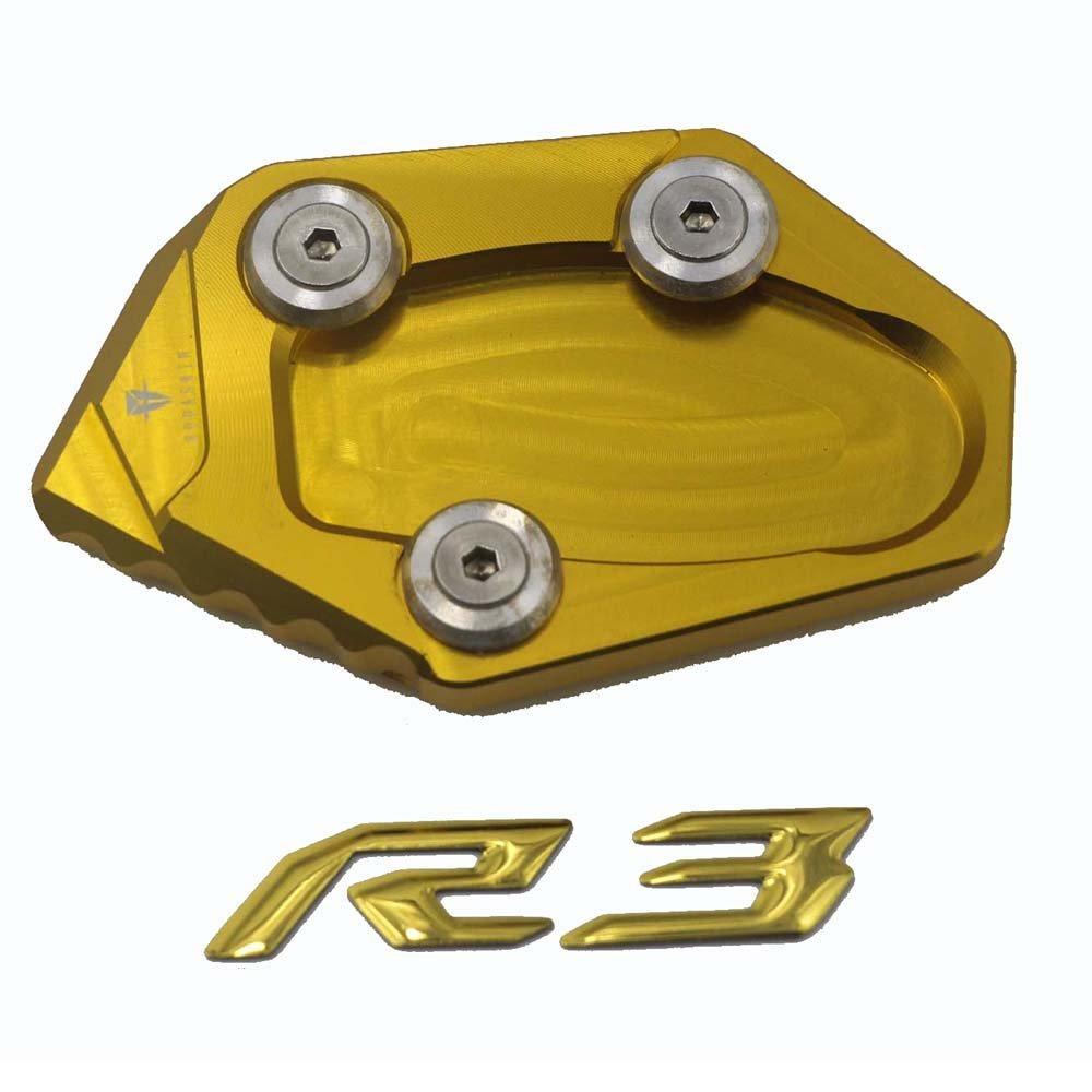 PRO-KODASKIN Motorcycle CNC Aluminum Side Stand Enlarge for YAMAHA YZF R3 (Gold)