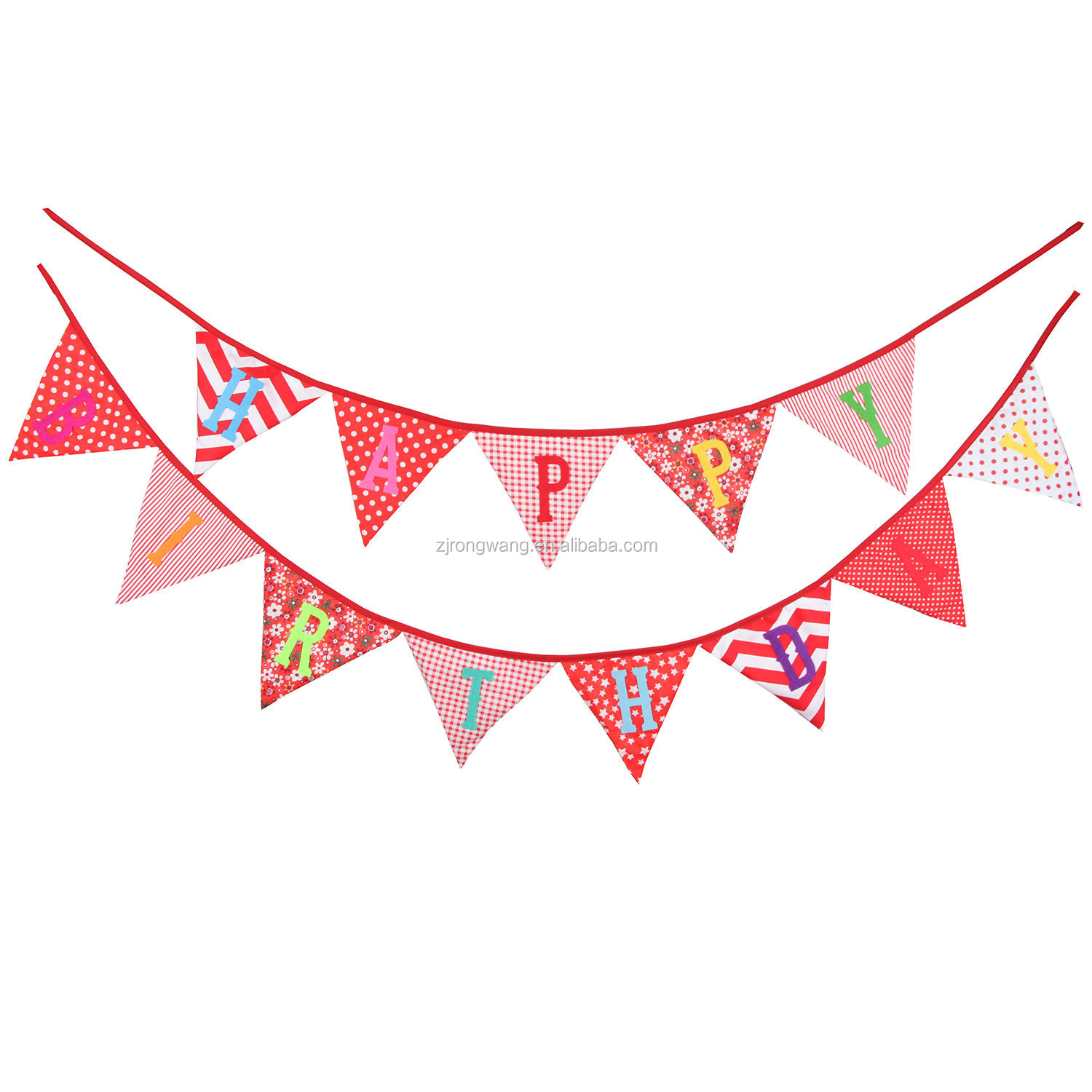 2019 Hot selling indoor happy birthday fabric triangle flag string