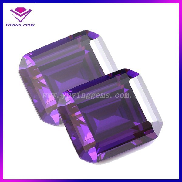Step cut rectangle amethyst lab created loose cubic zirconia