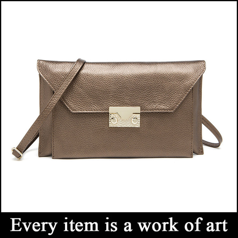 2005# Newst Europe Style Genuine Leather Ladies Plain Clutch Bag in Stock