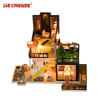 Wooden Dollhouse Furniture Set Diy Doll House With Light Gift Wooden