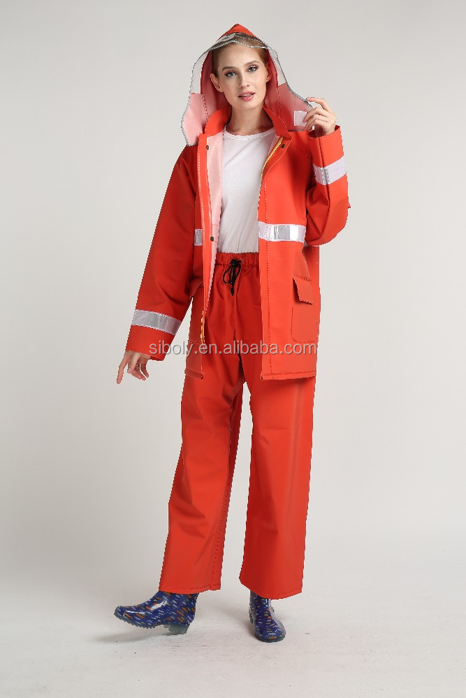 waterproof rain wear/High Visibility fluorescent Reflective stripe adult outdoor working waterproof pvc rainsuits