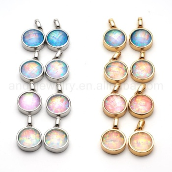 ANDE-P1012 Opal Pendant Faceted Natural Stone Necklace Round Shape Gold Drop Bezel Charm Gold Rimmed Pendant