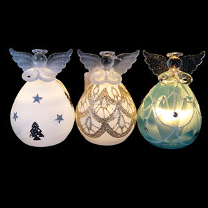 Wholesale Christmas angle LED light up glass angel ornament