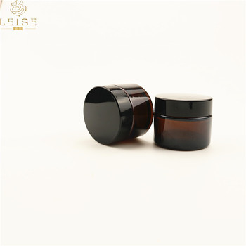 20G 30g brown glass cream jar with black lid ,amber 20g 30ml glass cream jars , Cosmetic Packaging glass 2oz 30 g Cosmetic Jar