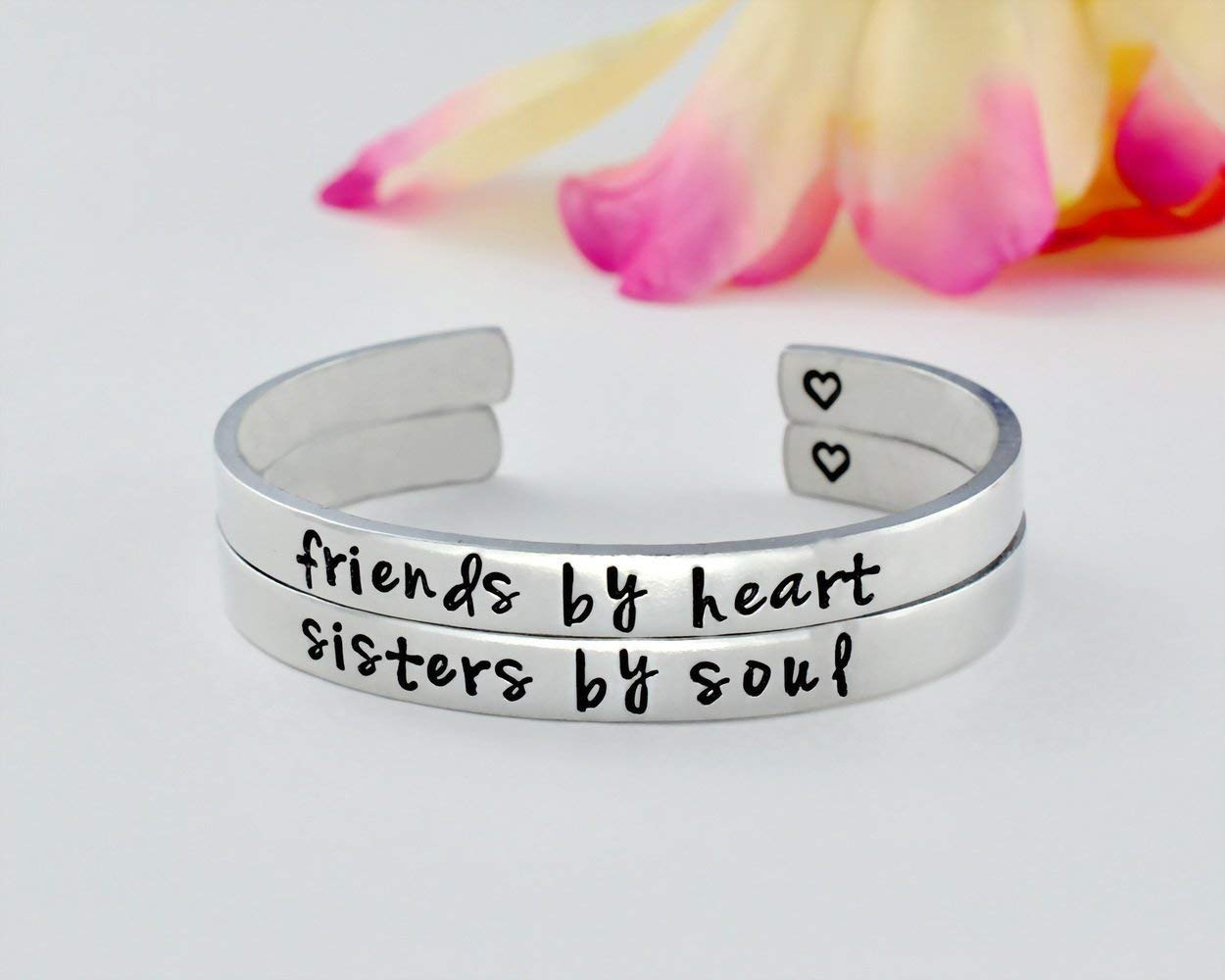 friends by heart / sisters by soul - Hand Stamped Aluminum Cuff Bracelet Set of 2, Sorority Sisters Best Friends BFF Besties Friendship Personalized Gift