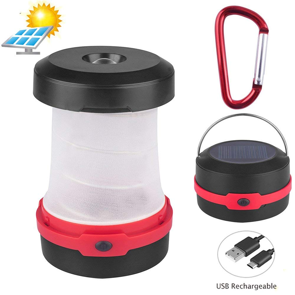 YOUYOUTE Solar Lantern Camping, Flashlights USB PowerBank Rechargeable Battery(Solar Powered/USB Charged) Portable 3 Modes Collapsible Emergency LED Lights for Camping Hiking Fishing Tent