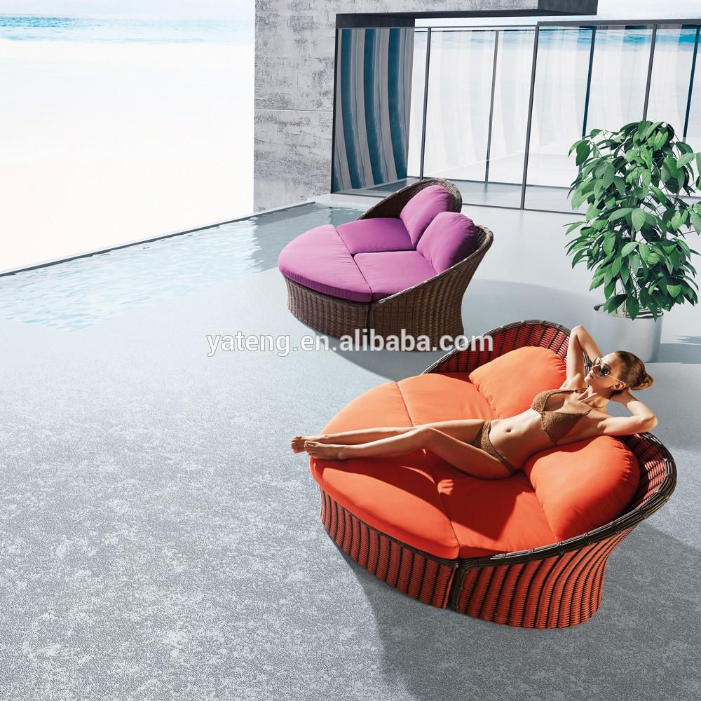 Big Runden Rattan Strand Lounge Bett Mit Baldachin Und Kissen