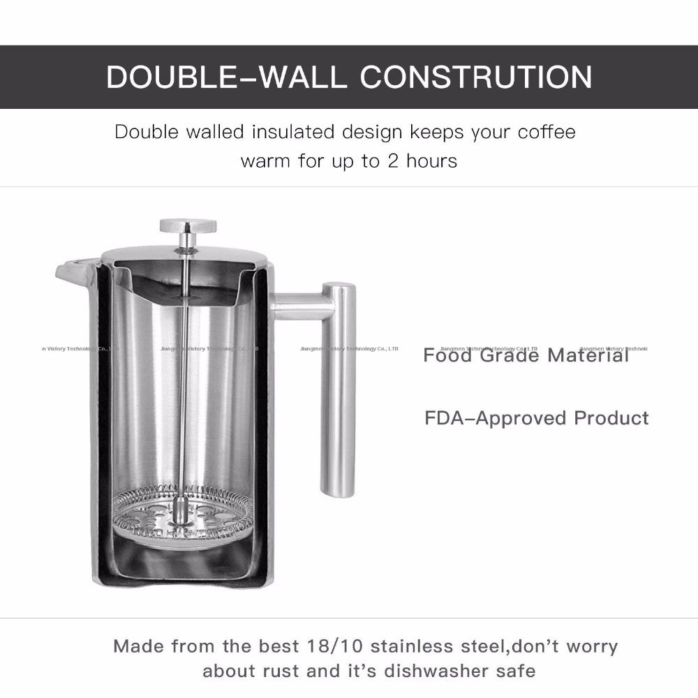 2017 Amazon best sell stainless steel classic french press pot