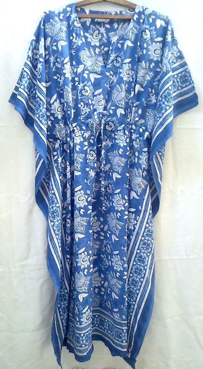 a44fe8c5ec Get Quotations · Cobalt Blue & White Chinoiserie Manchu Floral Anokhi Hand  block print Long Indian cotton Kaftan One