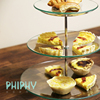 New design wedding/party glass transparent cake plate stand three layers plate