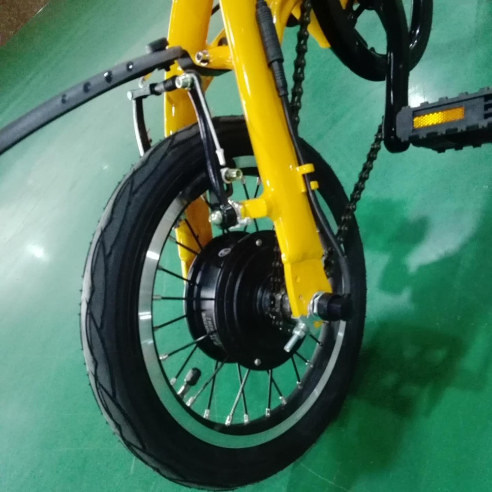 Rear hub motor bicycle 14 inch fat tire electric dirt bike for Fat bike front hub motor