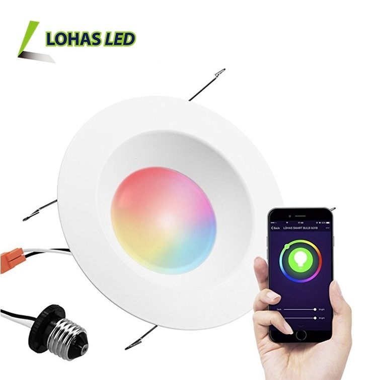 SIRI /Alexa /Google Home Voice Controlled WIFI Smart <strong>Downlight</strong> 15W E26 6 Inch RGB+W Color Changing Recessed LED <strong>Downlight</strong>