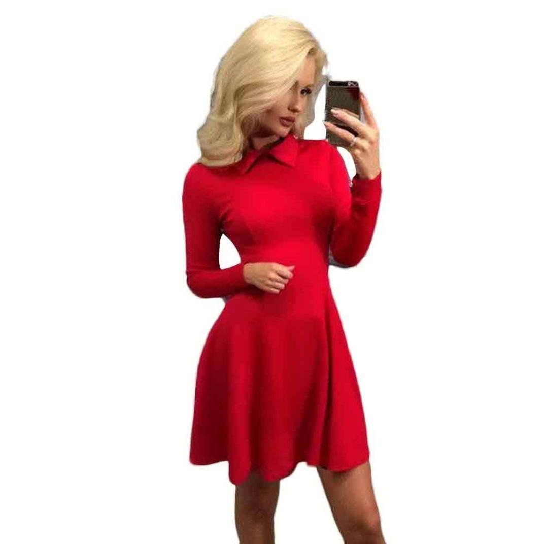 Clearance Deals Irregular Hem Dress Fashion Women Long Sleeve Loose Puff Dress by ZYooh (Red, M)