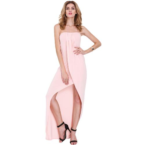 New Sexy Women Strapless Dress Bandeau Off Shoulder Draped Asymmetric Party Prom Gown Tube Dress Pink