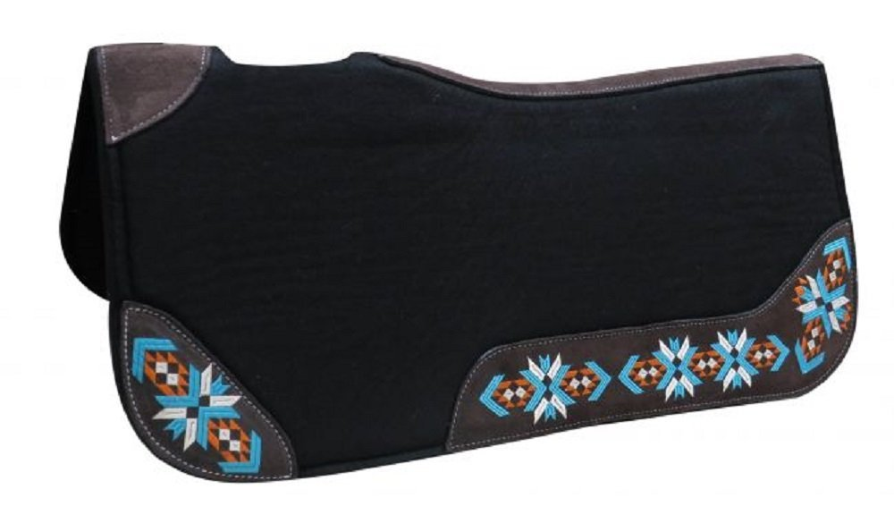 "Showman 32"" X 31"" Average Horse 1"" Thick Black Felt Contoured Pad With Navajo Embroidered Wear Leathers"