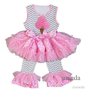 Girls Gray Chevron Pink Polka Dots Ice Cream Ruffled Top with Pants and Flower Sash Outfit 1-6Y