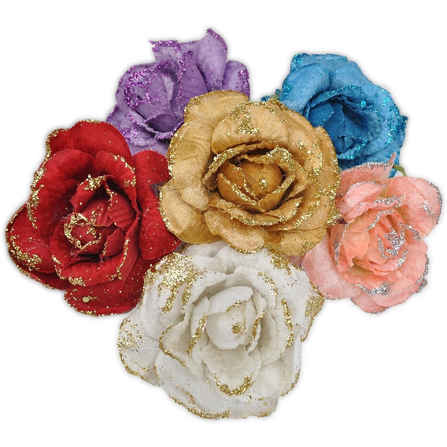 Hot Sale New 10cm Rose Flower pink red blue yellow purple christmas flower Decoration Xmas Tree Festival Party Gift