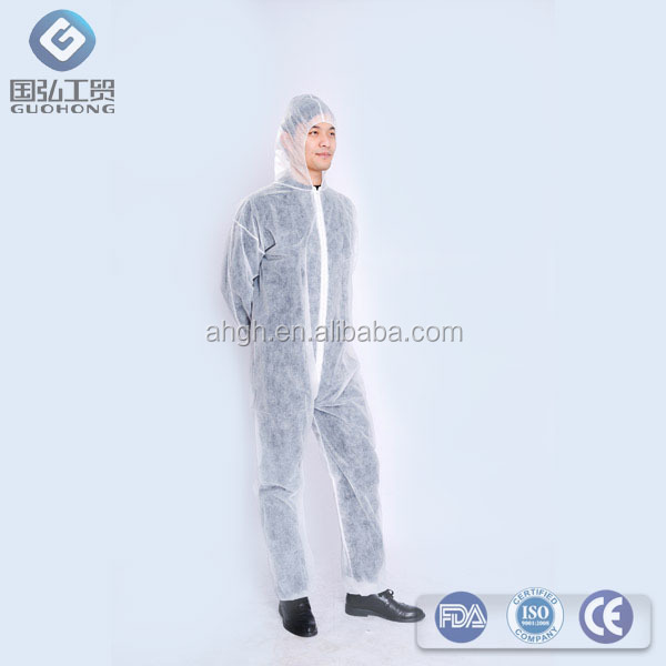 pp nonwoven/microporous/sms/pp+pe disposable coverall good protective