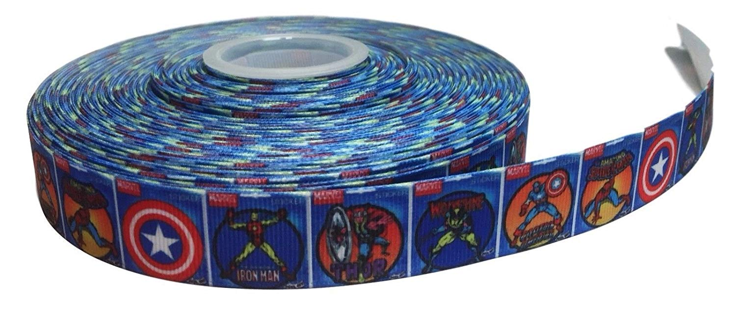 "Ironman in Action 1/"" Wide Repeat Ribbon Sold in Yard Lots"