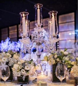 wholesale beautiful 5 arms wedding crystal clear candelabra on sale