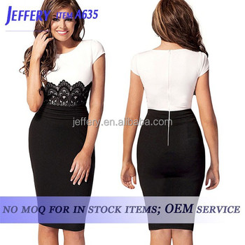 Ladies Office Wear Dresses Dress White Black Lace Office Dress For