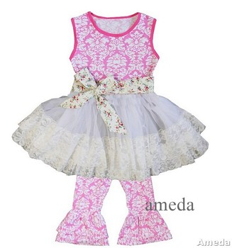 Girls Pink Damask Lace Ruffled Top with Pants and Flower Sash Outfit 1-6Y