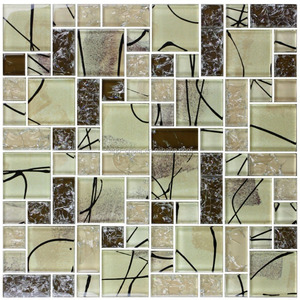 1/3 inch Thickness Electroplated Glass Mosaic Tile Meshed on 12 X 12 inch Tiles for Kitchen and Bathroom Backsplash Shower Walls