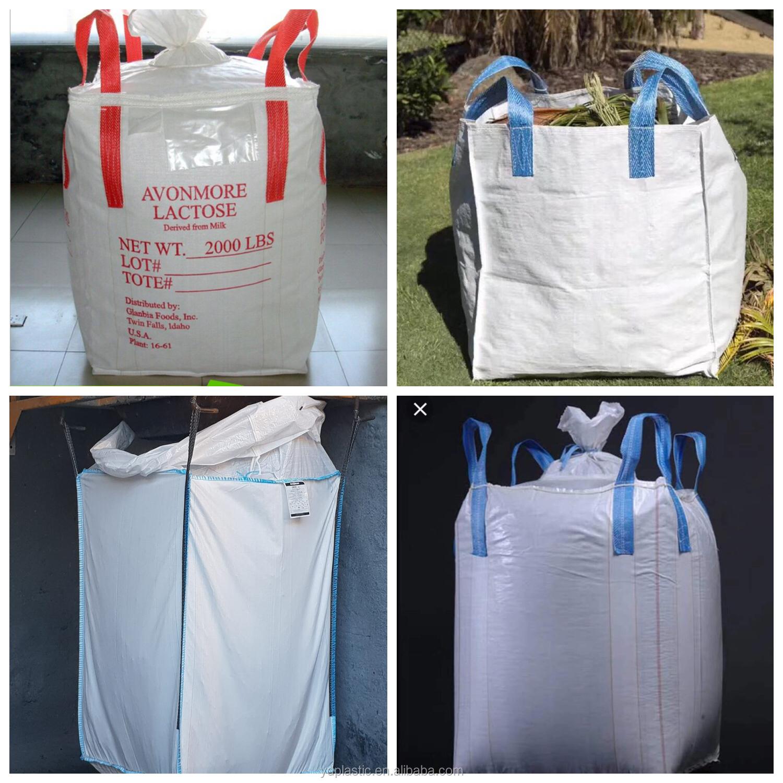 पीला भूनिर्माण बैग 1.5 टन रेत सीमेंट fibc बैग अनुकूलित मुद्रण थोक बैग बिक्री के लिए पीपी सुपर बोरियों