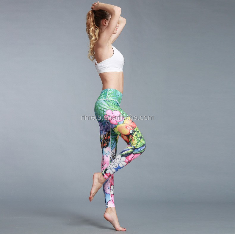 Printing Colorful  Women Sports Yoga Gym Leggings Running Fitness Training Pants Tight Casure Pants