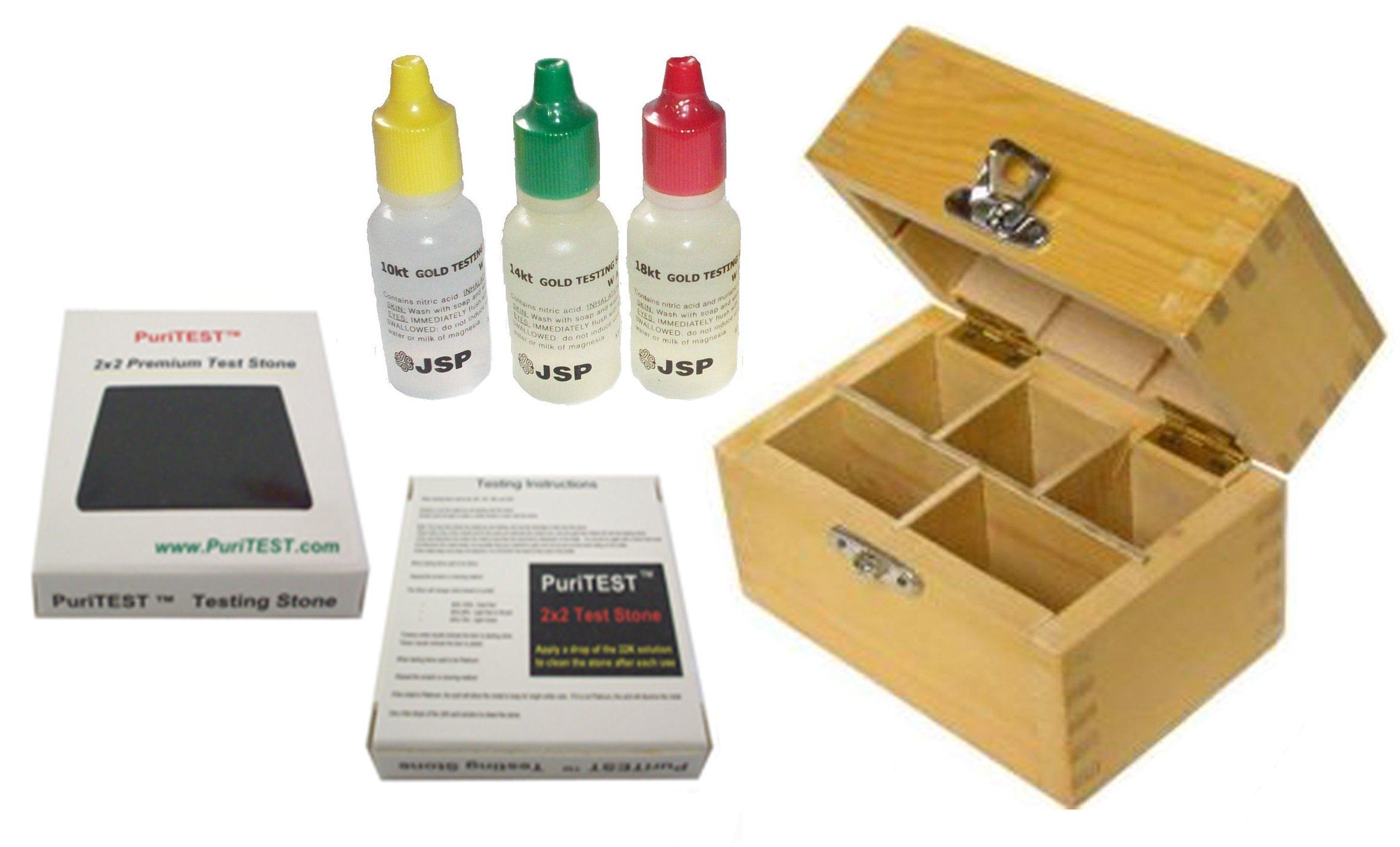 "JSP 10k/14k/18k Gold Test Acid Solutions Tester Kit Detect Metals Scrap Jewelry + Wooden Box + PRO 2x2"" Testing Stone"